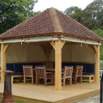 Oak Framed Gazebo/Pavilion with Hand Made Clay Plain Tiled Roof - Newmarket - By Olde English Property Ltd